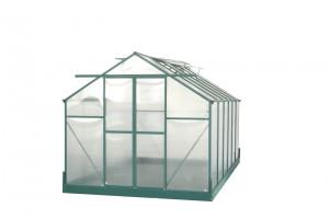 Serre jardin structure aluminium couleur verte / polycarbonate 6 mm / 10,37 m²
