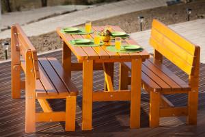 Table de jardin HAMBOURG 2 bancs en sapin 6 personnes 150 cm épaisseur 30 mm