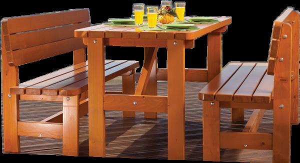 Table de jardin STRASBOURG 2 bancs en sapin 6 personnes longueur 150 cm épaisseur 40 mm