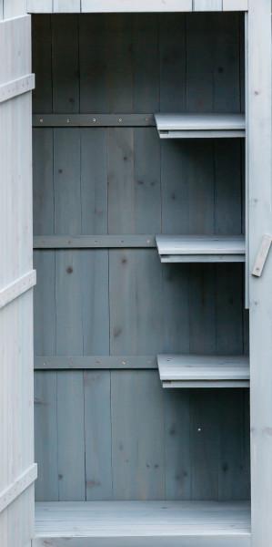 Armoire cabine de rangement lasurée couleur bleue / 3 étagères / 0,41 m2 / FSC
