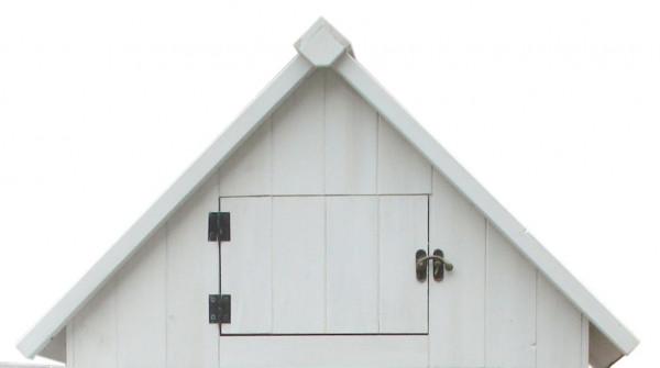Armoire cabine de rangement lasurée couleur blanche équipée de 3 étagères / 0,41 m2 / FSC