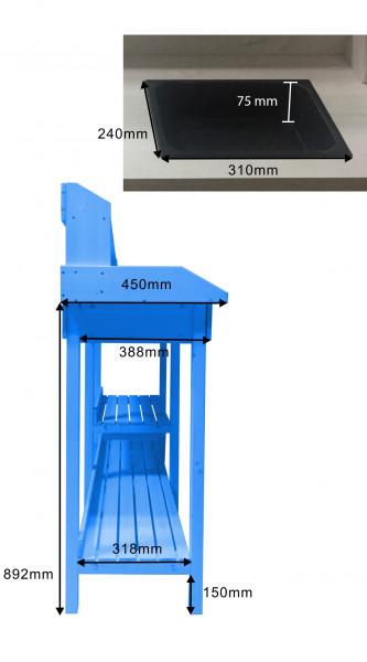 Table multiusages lasurée couleur bleue utilisable en table rempotage ou table cuisine / dimensions 111,7x45xH112 cm / FSC