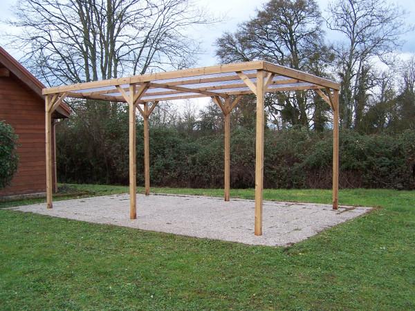 Pergola fabriquée en bois massif traité très haute température / 3,00x5,02 m / Couverture tôle PVC transparente