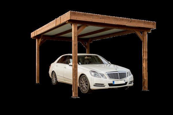 Carport fabriqué en bois massif traité très haute température / 3,00x3,60 m / Toit plat couverture acier galvanisé