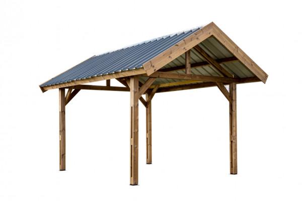 Carport fabriqué en bois massif traité très haute température / 3,55x5,04 m / Toit double pente couverture bac acier galvanisé