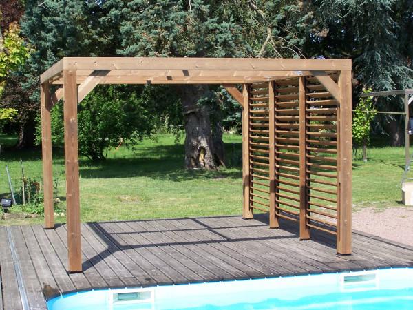 Pergola fabriquée en bois massif traité très haute température / 3,41x3,13 m
