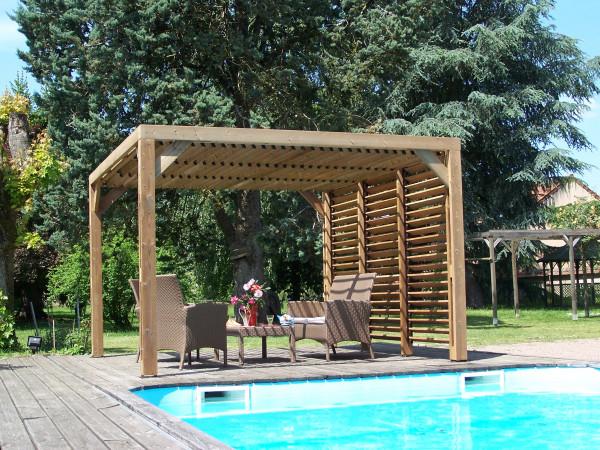 Pergola fabriquée en bois massif traité très haute température /  3,41x3,13 m / Livré avec ventelles mobiles