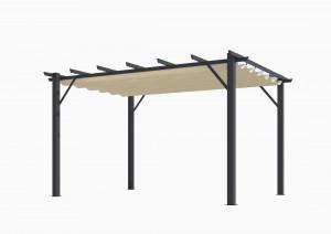 Pergola 100 % aluminium 12 m² / Toile 140 gr/m²  coloris écru