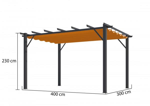 Pergola 100 % aluminium 12 m² / Toile 140 gr/m² coloris rouille