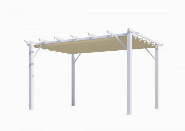 Pergola 100 % aluminium coloris blanc 12 m² / Toile 140 gr/m² coloris écru