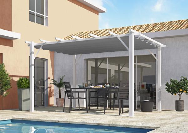 Pergola 100 % aluminium coloris blanc 12 m² / Toile 140 gr/m² coloris gris