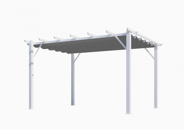 Pergola 100 % aluminium coloris blanc 12 m² / Toile 280 gr/m² coloris gris