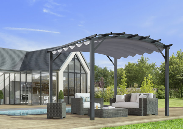 Pergola arche structure aluminium / acier / 11,22 m²  / Toile 140 gr/m² gris
