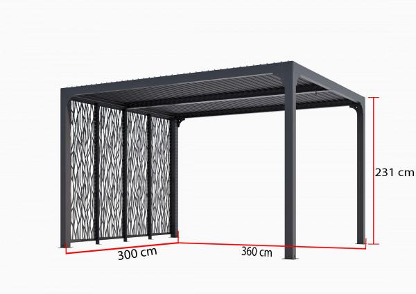 Pergola bioclimatique ALUMINIUM 4 panneaux moucharabieh 3 m / 10,80 m²