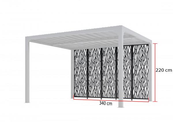 Panneaux moucharabieh acier ép.1,0 mm 3,60 m pour pergola bioclimatique PER 3630 BI x5
