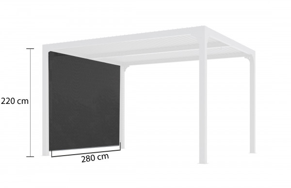 Rideau pour pergola bioclimatique PER 3630 BI avec rail pour côté 3 m couleur gris