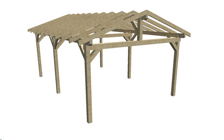 Carport double pente avec préparation pour couverture tuile / 3,90 x 5,86 m