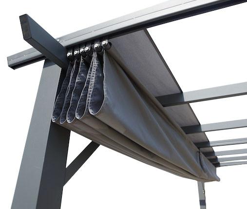 Pergola 100 % aluminium 12 m² / Toile 140 gr/m² coloris gris