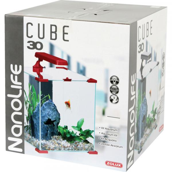 Aquarium NANOLIFE Cube 30, rouge
