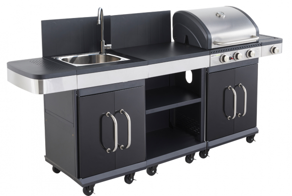 Barbecue gaz Americain FIDGI 3 brûleurs + réchaud latéral