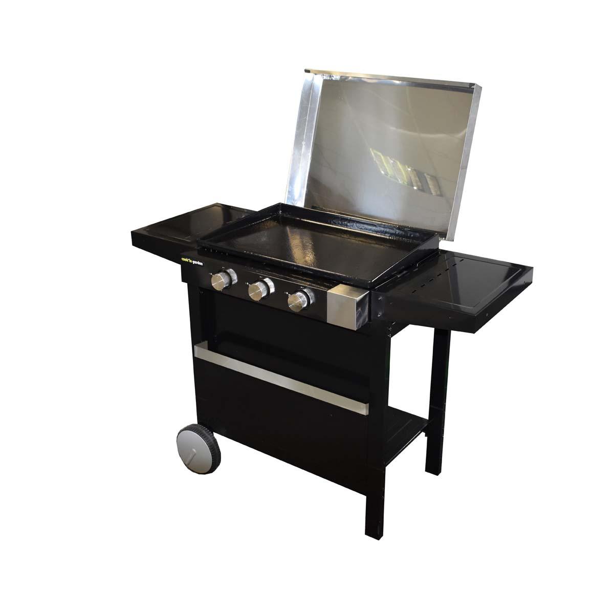 Barbecue Gaz Sans Plancha plancha gaz sur chariot finesta 61 avec capot (3 brûleurs)