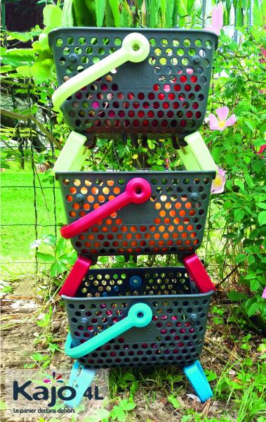 Lot de 3 paniers Kajo  4 L coloris Gris/Cerise + Gris/Tilleul + Gris/Turquoise