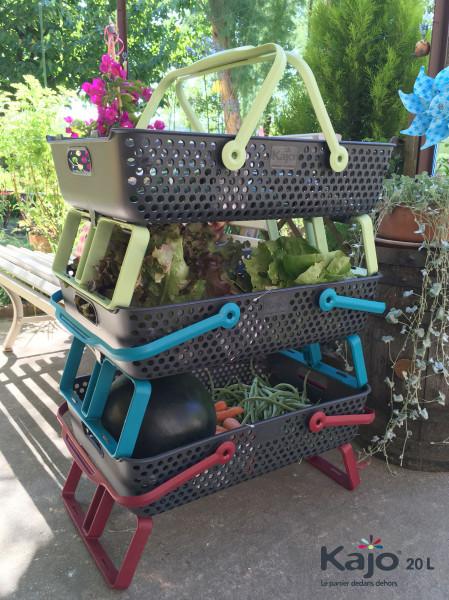 Lot de 3 paniers Kajo 20 L coloris Gris/Cerise + Gris/Tilleul + Gris/Turquoisee + Gris/Tilleul + Gris/Turquoise