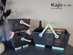 Lot de 3 paniers Kajo Pastel : 1 Kajo 15L Vert Pastel + 1 Kajo 4L  Rose Pastel + 1 Kajo 4L Bleu Pastel)