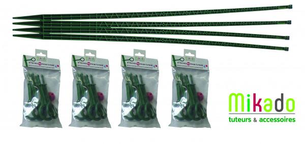 PACK 2 VERT JARDIN : 4 tuteurs 150 cm et 4 sachets de 6 attaches