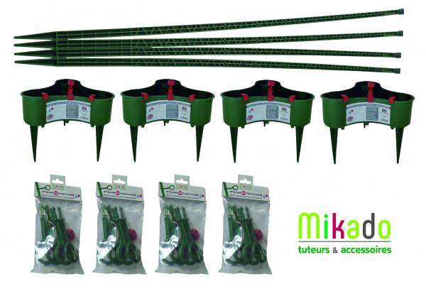 PACK 1 VERT JARDIN : 4 tuteurs 150 cm, 4 réservoirs, 4 sachets de 6 attaches