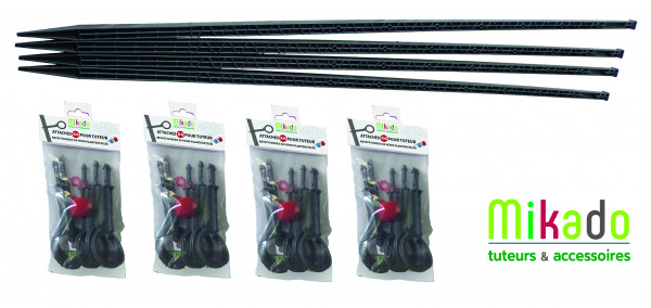 PPACK 2 ANTHRACITE : 4 tuteurs 150 cm et 4 sachets de 6 attaches
