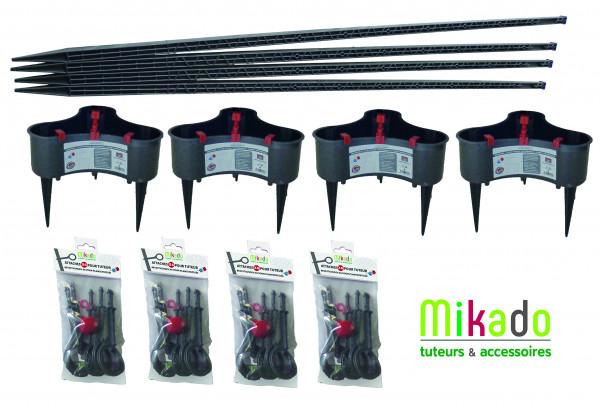 PPACK 1 ANTHRACITE : 4 tuteurs 150 cm, 4 réservoirs, 4 sachets de 6 attaches
