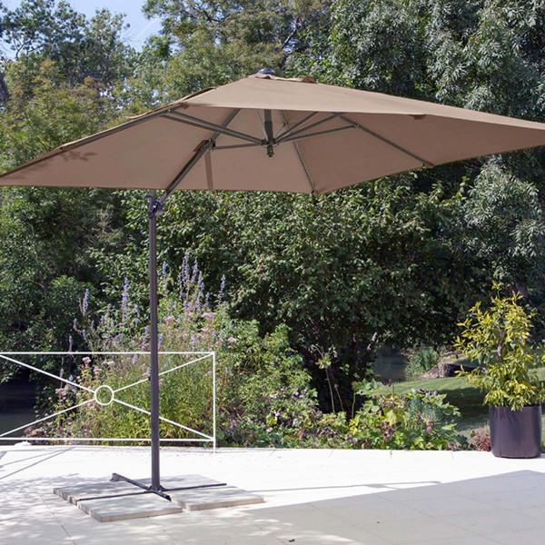 Parasol déporté Roma taupe 2,5 x 2,5 m