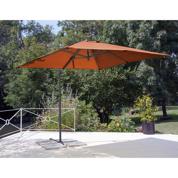 Parasol déporté Roma paprika 2,5 x 2,5 m